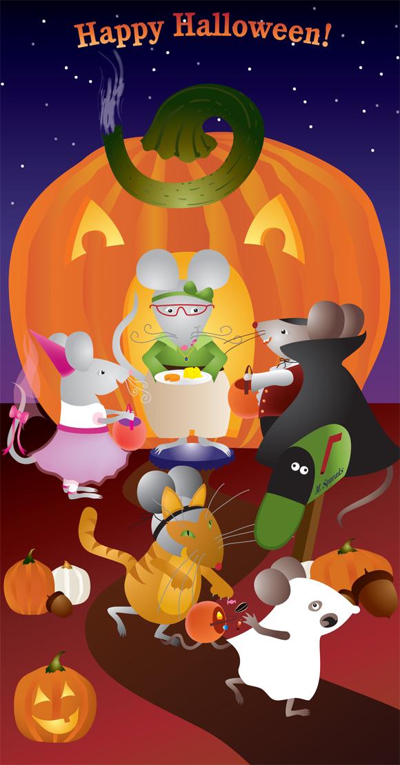 Pumpkin Mice greeting card art