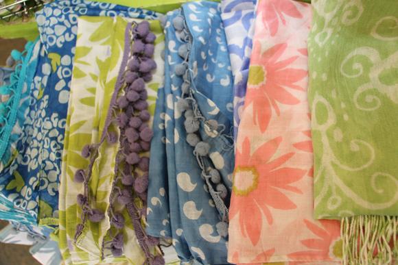 Cotton Pompom scarves from RockFlowerPaper