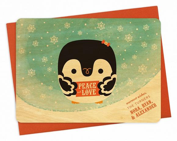 Night Owl Paper Goods' Peace Penguin card