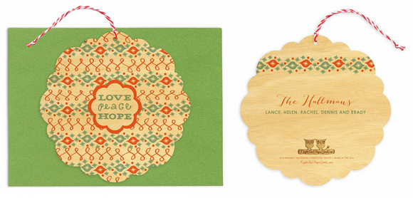 Night Owl Paper Goods' Love Peace Hope Ornament card
