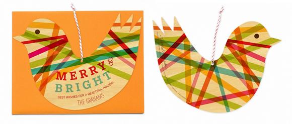 Night Owl Paper Goods Ribbon Bird Ornament card
