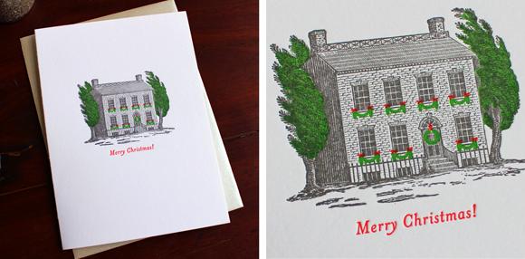 Sesame Letterpress Christmas House cards
