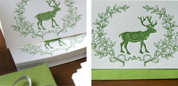 Sesame Letterpress Deer Enclosure cards