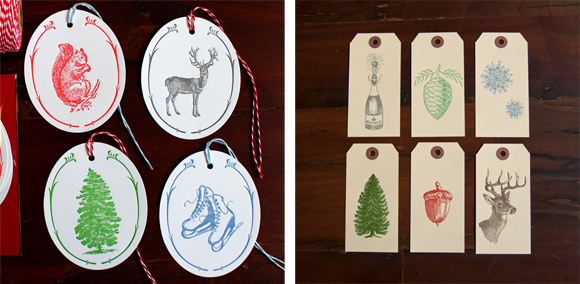 Sesame Letterpress Holiday  Gift Tags