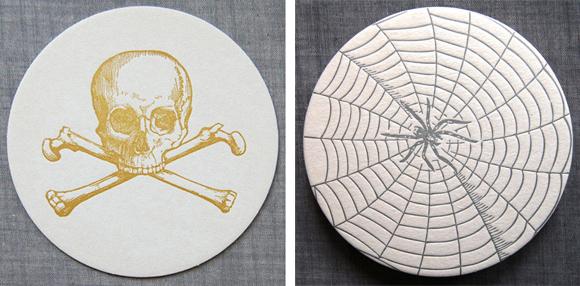 Sesame Letterpress Skull and Spiderweb coasters