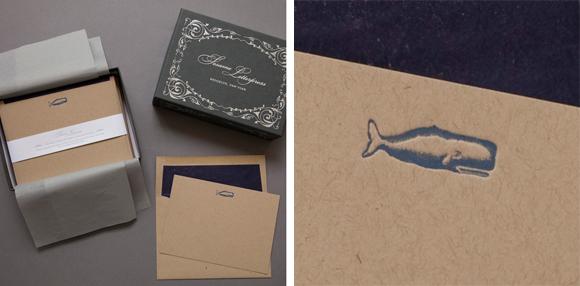 Sesame Letterpress Whale Deluxe Kraft Note Cards