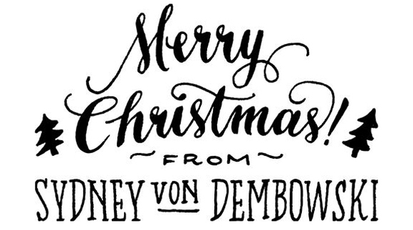 Ladyfingers Letterpress Merry Christmas custom stamp