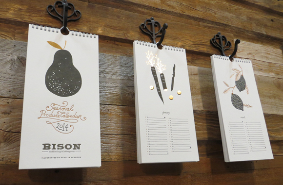 Bison Bookbinding and Letterpress 2014 Seasonal Produce Calendar