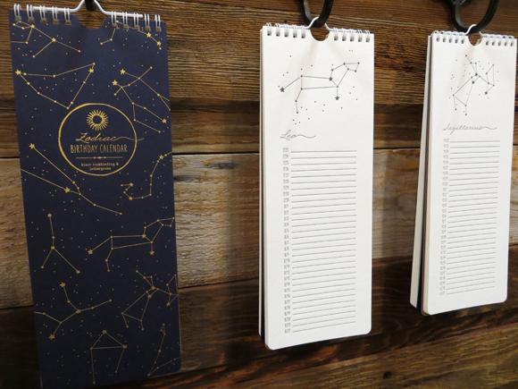 Bison Bookbinding and Letterpress 2014 Zodiac Birthday Calendar