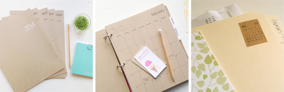 Letter C Design Kraft Monthly Planner Sheets and Mini Monthly Stickers