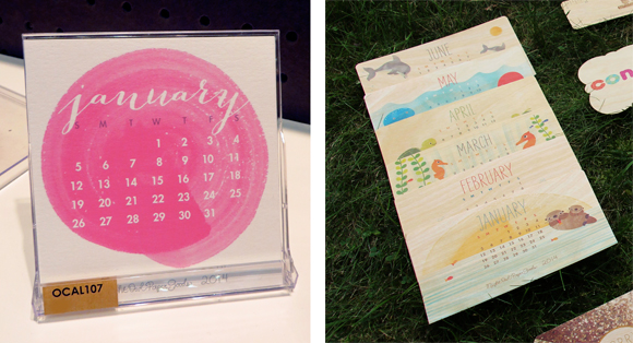 Night Owl Paper Goods 2014 Watercolor Whirls and Aquatic Critter Desk Calendars