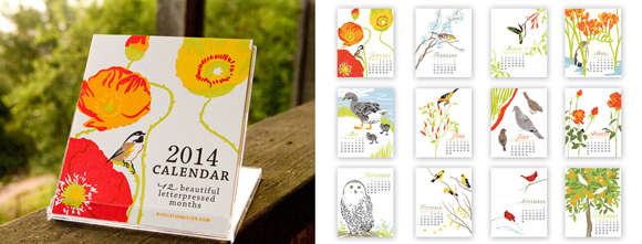 Rigel Stuhmiller's Birds, Flowers, and Gardens Letterpressed 2014 Desktop Calendar