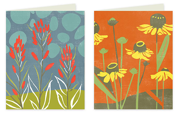 Rigel Stuhmiller Block Print Flowers cards