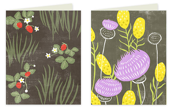 Rigel Stuhmiller Block Print Flowers cards