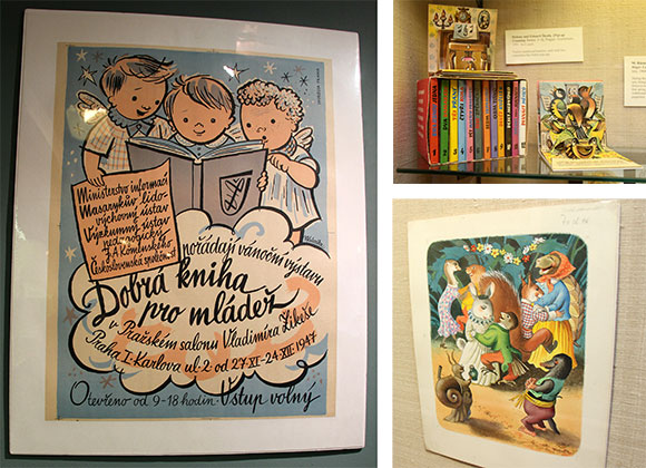 "Clockwise from left: Kubašta's ""Good Books for Young People"" Exhibition poster, Pop-Up Counting Series of books, and illustration for ""Stories from the Honey Hillside"""