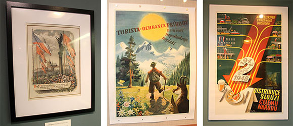 "Kubašta ""Liberation"" lithograph and ""The Happy Hiker"" and Ministry of Domestic Commerce posters"