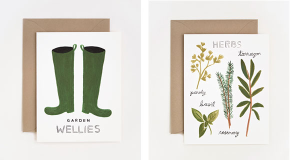 """Rifle Paper - """"Wellies"""" and """"Herbs"""" cards"""