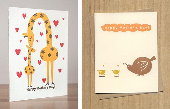 Fugu Fugu Press Mother's Day Giraffe and Quails cards