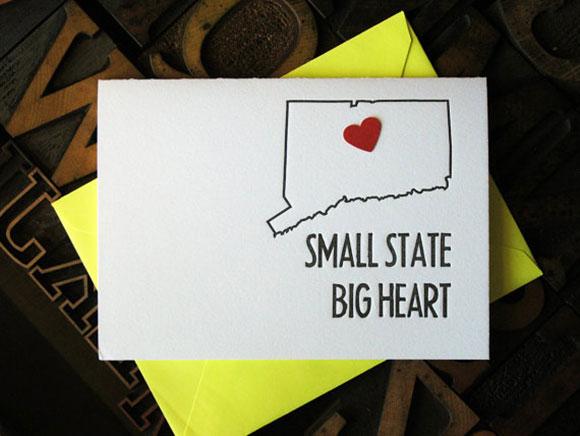 "Hartford Prints' ""Small State, Big Heart"" letterpress card"