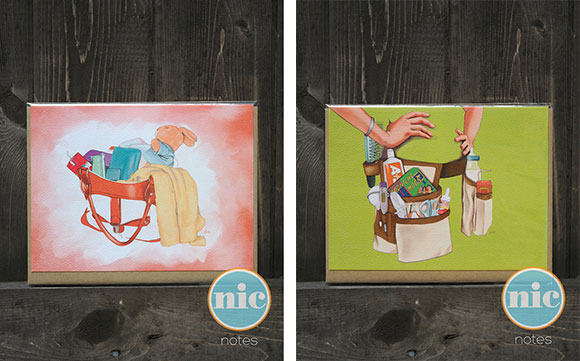 "The Nic Studio's ""Mom Bag"" and ""Mommy Tool Belt"" cards"