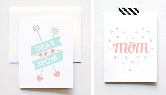 The Paper Cub's Dear Mom and Confetti Heart cards