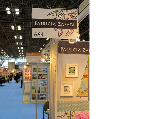 Patricia Zapata took advantage of the opportunity to create her own booth sign, and draw attention to her booth at 2013 SURTEX