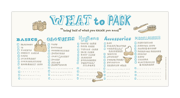 Knock Knock's What to Pack Horizontal Pad