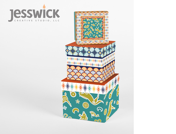 Advanced Track, Brief 2, Tribal Collage decorative boxes by Jessica Southwick