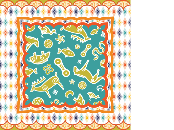 Advanced Track, Brief 2, Tribal Collage pattern submission by Jessica Southwick