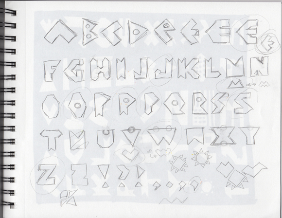 Rough alphabet sketches by Jessica Southwick