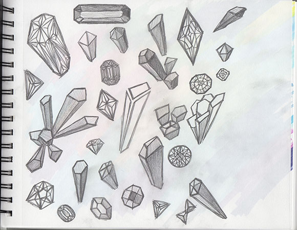 "Sketching for the Beginner Track, Brief 3 theme of ""Jewels"" by Jessica Southwick"
