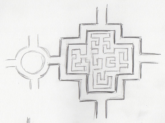 Maze sketching, by Jessica Southwick
