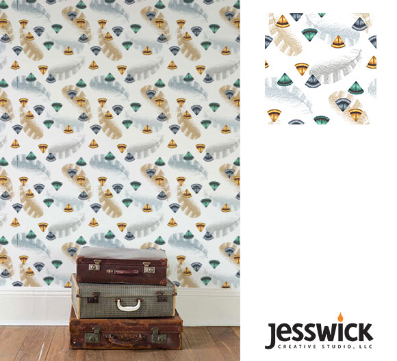 Intermediate Track, Brief 3, Feathers wallpaper mock-up by Jessica Southwick