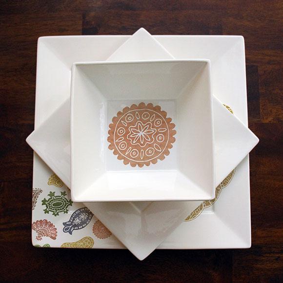 Suzani bowl with plates mock-up by Jessica Southwick