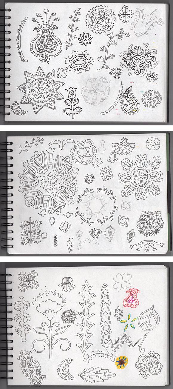 Suzani sketches - round 1 - by Jessica Southwick