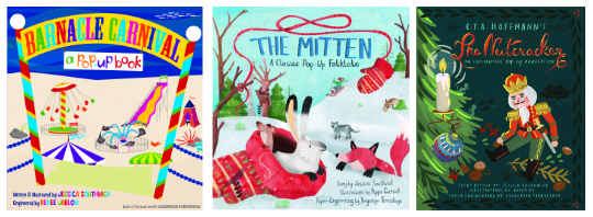 """Barnacle Carnival,"" ""The Mitten,"" and ""The Nutcracker"" front covers"